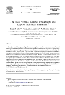 The stress response systems: Universality and Verences adaptive individual di Bruce J. Ellis