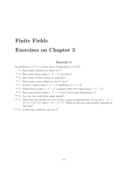 Finite Fields Exercises on Chapter 3 Exercise 3