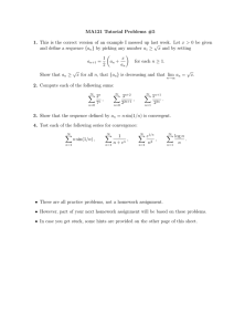 MA121 Tutorial Problems #5 x > {a µ
