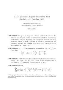 AMM problems August–September 2013 due before 31 October, 2013