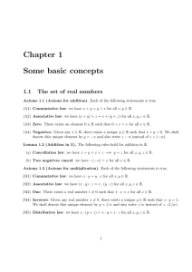 Chapter 1 Some basic concepts 1.1 The set of real numbers