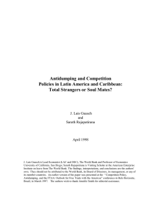 Antidumping and Competition Policies in Latin America and Caribbean: J. Luis Guasch