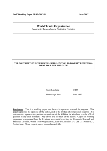 World Trade Organization Economic Research and Statistics Division