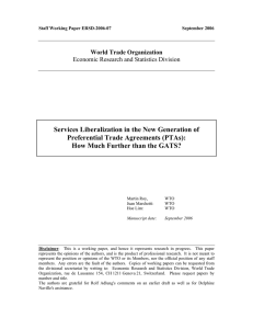 Services Liberalization in the New Generation of Preferential Trade Agreements (PTAs):