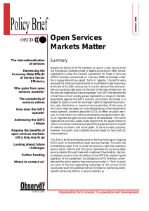 Policy Brief Open Services Markets Matter Summary