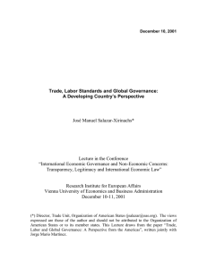 Trade, Labor Standards and Global Governance: A Developing Country's Perspective