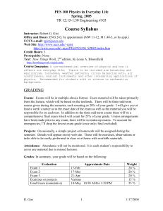 Course Syllabus PES 100 Physics in Everyday Life Spring, 2005