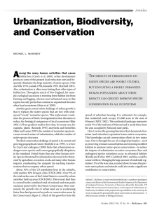 Urbanization, Biodiversity, and Conservation A Articles