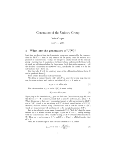 Generators of the Unitary Group 1 What are the generators of U(V)?