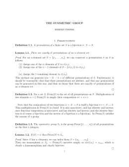 THE SYMMETRIC GROUP 1. Permutations