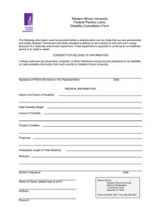 Western Illinois University Federal Perkins Loans Disability Cancellation Form