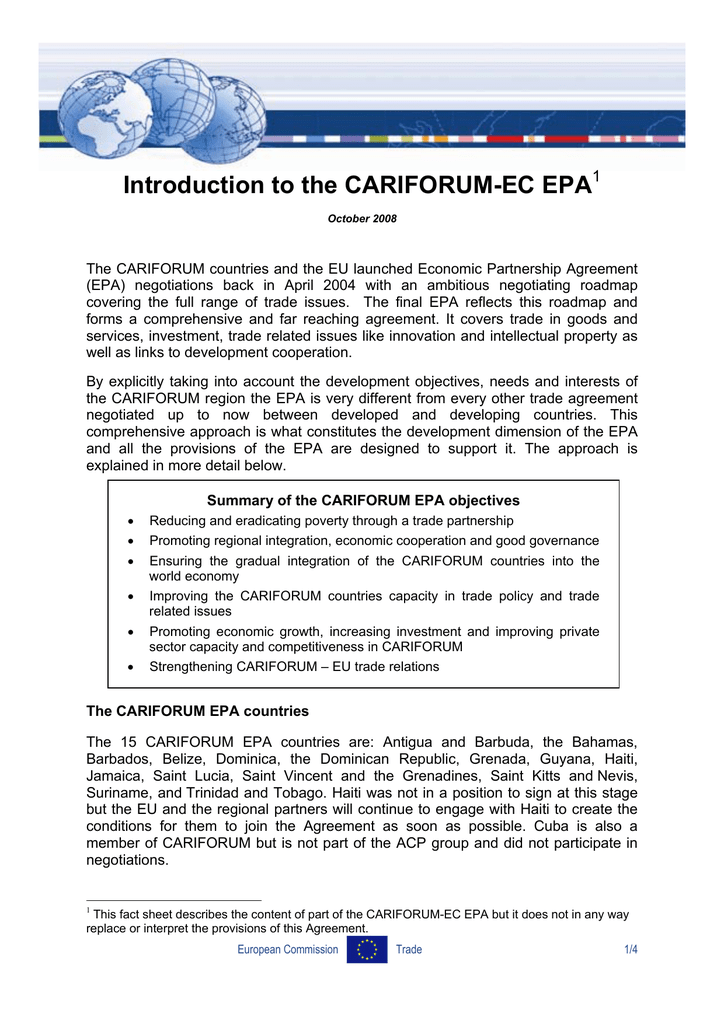 Introduction To The Cariforum Ec Epa 1