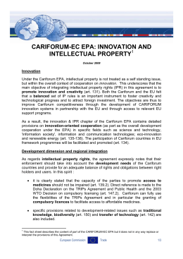 CARIFORUM-EC EPA: INNOVATION AND INTELLECTUAL PROPERTY  1