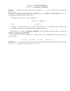 Chapter 12. Partial derivatives. Section 12.8 Lagrange multipliers. Problem.
