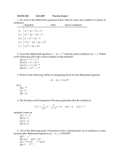 MATH 308 Fall 2007 Practice Exam I