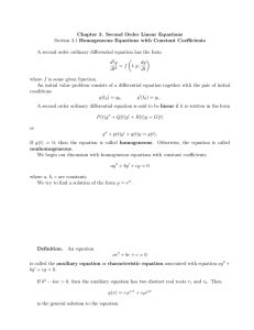 Chapter 3. Second Order Linear Equations Homogeneous Equations with Constant Coefficients