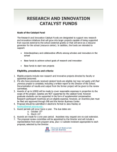 RESEARCH AND INNOVATION CATALYST FUNDS