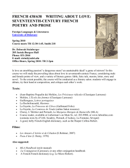 FRENCH 438/638    WRITING ABOUT LOVE: SEVENTEENTH-CENTURY FRENCH