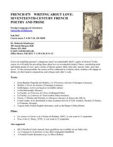 FRENCH 875    WRITING ABOUT LOVE: SEVENTEENTH-CENTURY FRENCH