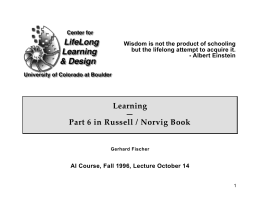Learning — Part 6 in Russell / Norvig Book