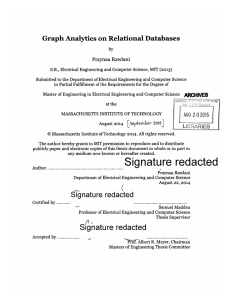 Graph Analytics  on Relational Databases