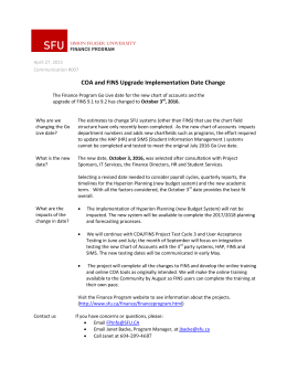 SFU  COA and FINS Upgrade Implementation Date Change