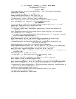 PES 106 – General Astronomy II – Exam #1 Study... Fundamentals of Astronomy