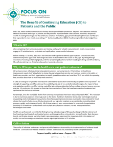 The Benefit of Continuing Education (CE) to Patients and the Public