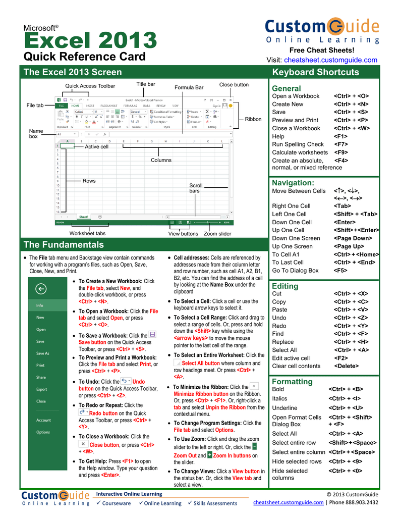 Excel 20 Quick Reference Card The Excel 20 Screen