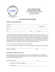 RECOMMENDATION FORM Doctor of Education (EdD) Lincoln Memorial University