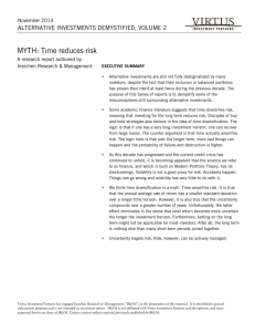 MYTH: Time reduces risk  ALTERNATIVE INVESTMENTS DEMYSTIFIED, VOLUME 2 November 2014