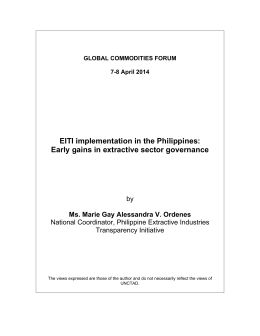 EITI implementation in the Philippines: Early gains in extractive sector governance