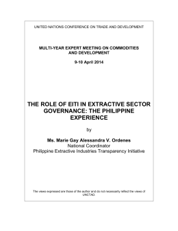 THE ROLE OF EITI IN EXTRACTIVE SECTOR GOVERNANCE: THE PHILIPPINE EXPERIENCE