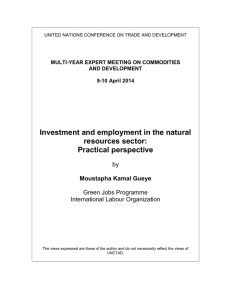 Investment and employment in the natural resources sector: Practical perspective