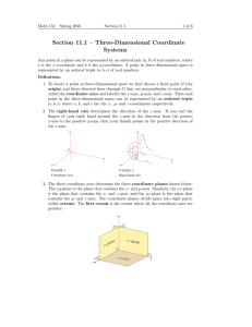 Section 11.1 – Three-Dimensional Coordinate Systems