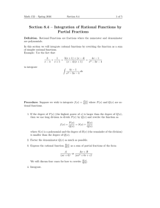 Section 8.4 – Integration of Rational Functions by Partial Fractions