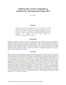 Small Grains Variety Evaluation at Arizona City, Maricopa and Yuma, 2013  Summary