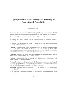 Open problems raised during the Workshop in Analysis and Probability July-August 2009