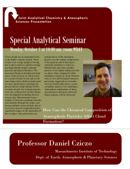Special Analytical Seminar  Monday, October 1 at 10:00 am, room 9341