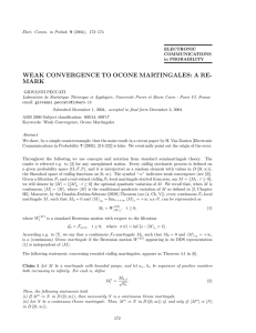 WEAK CONVERGENCE TO OCONE MARTINGALES: A RE- MARK