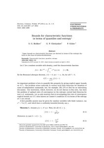 Bounds for characteristic functions in terms of quantiles and entropy
