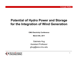 Potential of Hydro Power and Storage Gabriela Hug Assistant Professor