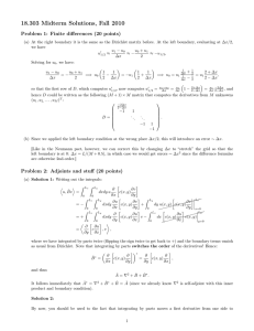 18.303 Midterm Solutions, Fall 2010 Problem 1: Finite differences (20 points)