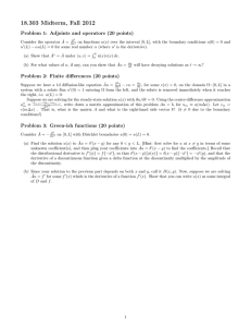 18.303 Midterm, Fall 2012 Problem 1: Adjoints and operators (20 points)