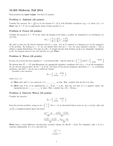 18.303 Midterm, Fall 2014 Problem 1: Adjoints (25 points)