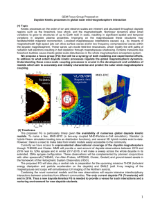 Kinetic processes on the order of ion and electron scales... Dayside kinetic processes in global solar wind-magnetosphere interaction (1) Topic