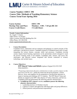 ourse Number: EDUC 350 Course Title: Methods of Teaching Elementary Science