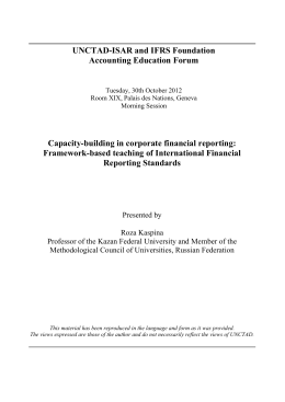 UNCTAD-ISAR and IFRS Foundation Accounting Education Forum Capacity-building in corporate financial reporting:
