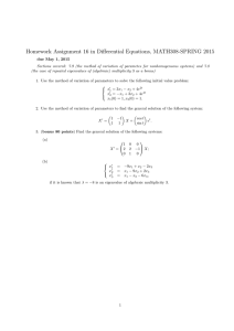 Homework Assignment 16 in Differential Equations, MATH308-SPRING 2015