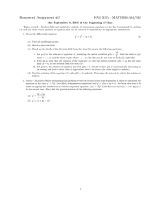 Homework Assignment #2 FAll 2015 - MATH308-504/505